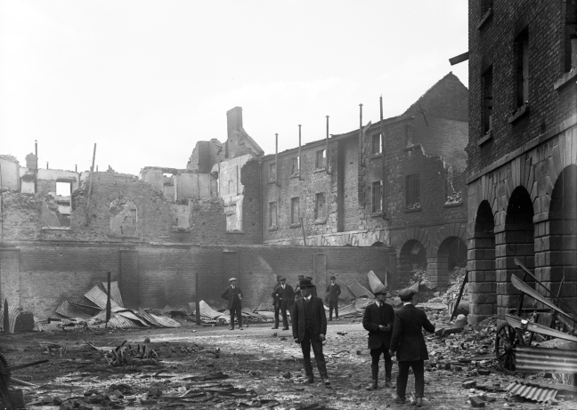 Linen hall Barracks after the Easter Rising in Dublin.